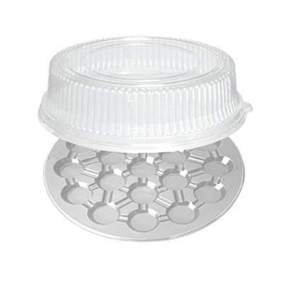 Party Essentials N219164 16-Inch Round 19-Cavity Cupcakes Trays, Clear with Clear Dome Lids, Set of...