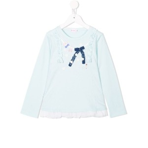 Miki House embroidered trim long sleeve top - グリーン