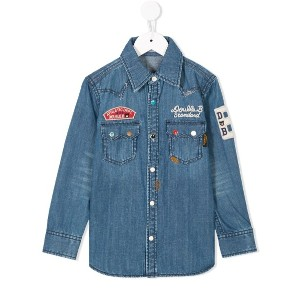 Miki House patch embroidered denim shirt - ブルー