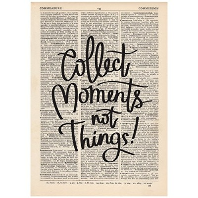 Collect Moments Not Things辞書印刷OOAK、アート、インスピレーション引用ビンテージ