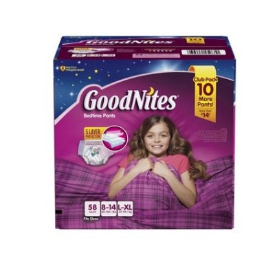 GoodNites Bedtime Underwear for Girls (Size L/XL, 58 ct.) by GoodNites