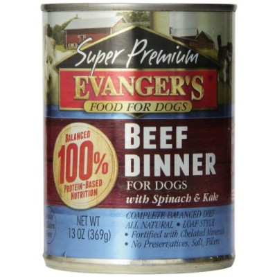 EVANGER'S Gold Super Premium Grain Free Beef Dinner for Dogs, 12.8-ounce, by Evangers