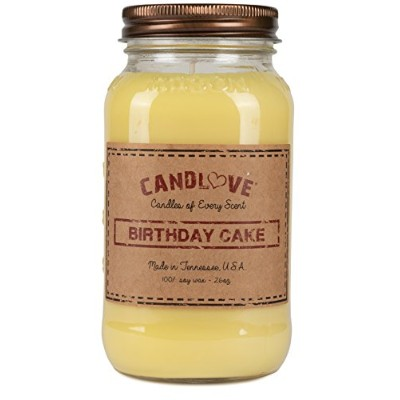 Candlove誕生日ケーキ香りつき26oz Mason Jar Candle 100 %大豆Made in the USA