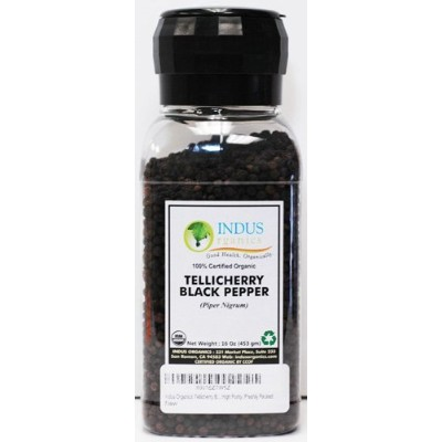 Indus Organics Tellicherry Black Peppercorns, 0.5kg Grinder, Premium Grade, High Purity, Freshly Packed
