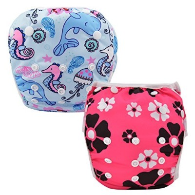 Damero 2pcs Baby Swim Diapers Travel Cloth Diaper Cover Swimsuit for Baby Boys& Girls (Happy Sea...
