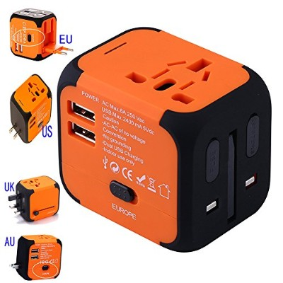 Universal Travel Adapter, International Power Adapter with 2.2A Dual USB Ports Worldwide AC Wall...