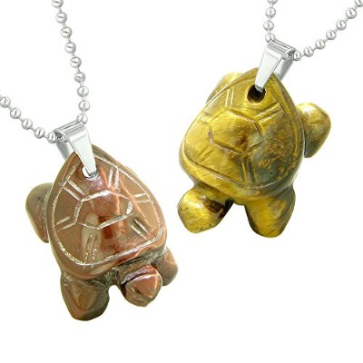 Lucky TurtlesチャームLoveカップルまたはBest Friends Healing Amulets Set Red and Yellow Tiger Eyeネックレス