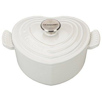 Le Creuset SignatureホワイトCast Iron Heart Shaped 2.25 Quart Dutch Oven withステンレススチールノブ