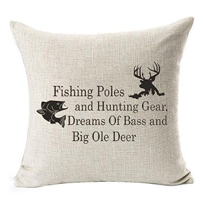 (46cm x 46cm, 1) - Nordic simple Sayings fishing pole and hunting gear deer elk Cotton Linen Square...