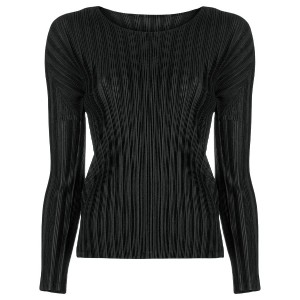 Pleats Please By Issey Miyake plissé fitted top - ブラック