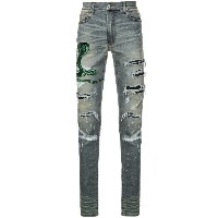 Amiri snake embroidered distressed jeans - ブルー