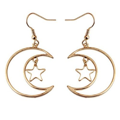 18 KゴールドメッキHollow Moon With Five Pointed StarレディースLong Dangle Earrings