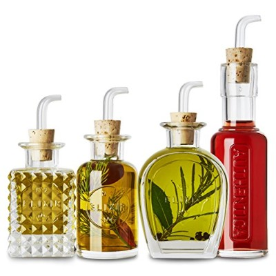 Luigi Bormioli Elixir 4 Piece Condiment Set withガラスPourers and Natural Cork継手 – For Oils and...