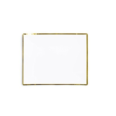 (Large Plates, White/Gold) - Sugar & Cloth 17cm x 22cm Rectangle Paper Plate, White with Gold Edge,...