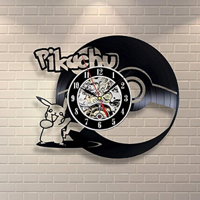 BuTeFang 時計 壁掛け Vinyl Wall Clock Pokemon Pikachu vinyl Black glue record Wall clock