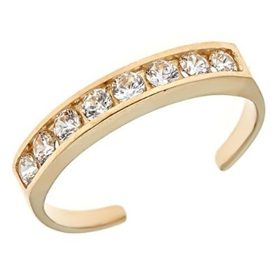 10k Solid Gold Cz Toe Ring Adjustable Body Jewellery