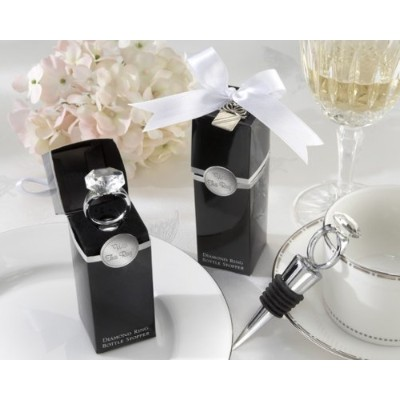 With This Ring Chrome Diamond-Ring Bottle Stopper - Baby Shower Gifts & Wedding Favors (Set of 48)...