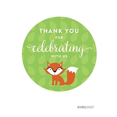 Andaz Press Woodland Forest Baby Shower Collection, Round Circle Label Stickers, Thank You for...