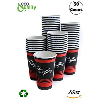 Large 16oz 50Count Paper Cups by ecoquality–クラシック耐久性使い捨てペーパーカップのホット/コールドドリンク、コーヒー、紅茶、ココア、旅行–...