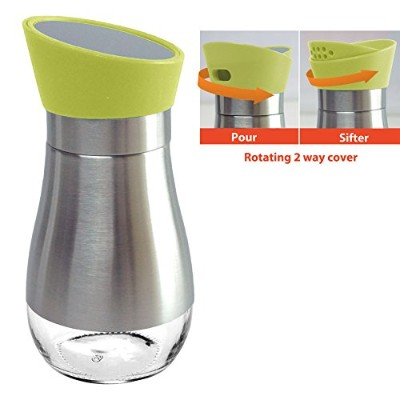 (Geen) - Spice/Sugar / Salt/Pepper Shakers Stainless Steel Cover Glass Bottom With Rotating Cover ...
