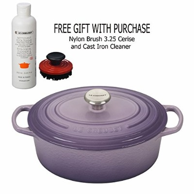 Le creüset 5-quart Oval Dutch Oven, Provence withナイロンブラシ3.25Cerise and Cast Iron Cleaner、ギフトwith...