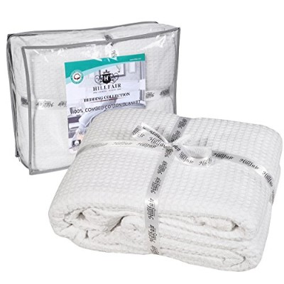 100% Ringspun Combed Cotton Blanket–ワッフル–ツインブルーby hillfair クイーン ホワイト Waffle-RS-Cotton-Blanket...