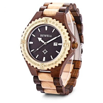 Bewell Wooden Watchesメンズハンドメイドサンダル木製Mens Quartz WatchファッションNatural Wood Watch Ebony wood+Maple wood