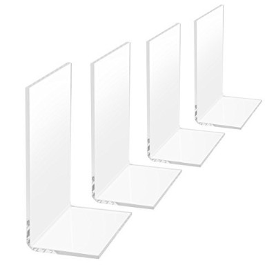(white) - 4 Pcs Clear Plastic Bookends (white)