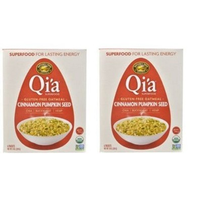 Qi'a Superfood Organic Hot Oatmeal - Cinnamon Pumpkin Seed - 2 Boxes with 6 Packets Each Box (12...