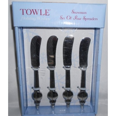 Towle Holiday Wishes雪だるまセットの4つのSpreaders