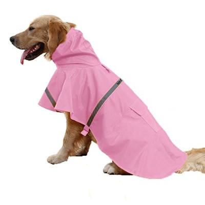 kimfoxes犬Raincoatsファッション犬雨ポンチョReflective Strips and PU防水レインコートの犬 XXL (Back 30.7-33.5inch Chest...