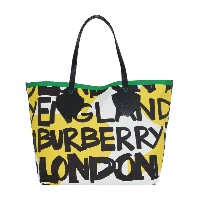 Burberry The Giant Tote in Graffiti Print Cotton - イエロー&オレンジ
