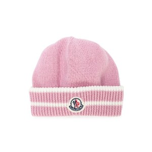 Moncler Kids logo patch beanie - ピンク
