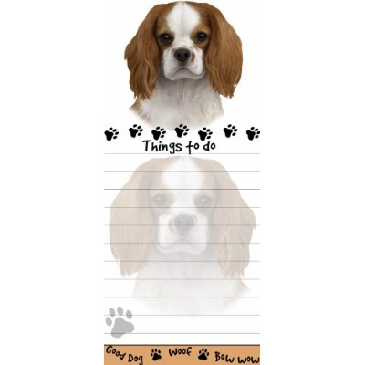 King Charles Cavalier Magnetic List Pads Uniquely Shaped Sticky Notepad Measures 8.5 by 3.5 Inches...