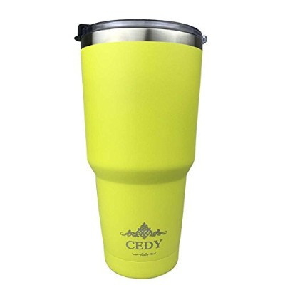 ((Bottom Painted Yellow)) - 890ml Stainless Steel Vacuum Insulated Tumbler with Lid, Double-Wall...