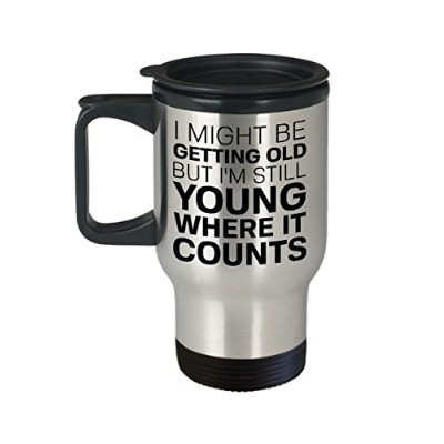 Over the Hillコーヒーマグ–InsulatedステンレススチールFunny Quote Cup withハンドル& Lid–Novelty Old Fart誕生日...