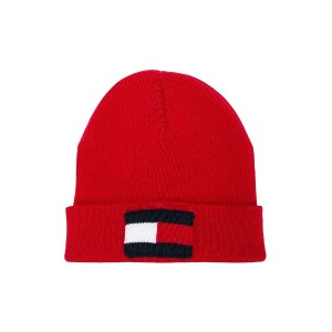 Tommy Hilfiger Junior logo flag knitted beanie - レッド