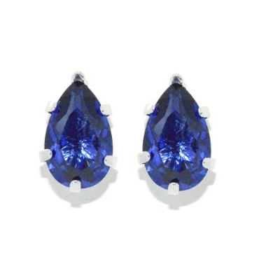 1.5 Carat Simulated Tanzanite Pear Stud Earrings .925 Sterling Silver Rhodium Finish