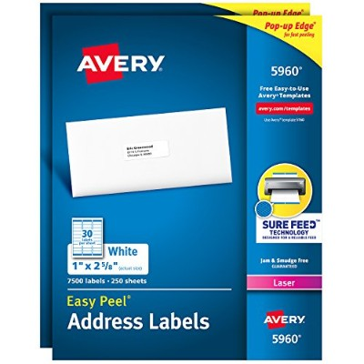 Easy Peel Laser Address Labels, 1 x 2-5/8, White, 7500/Box (並行輸入品)