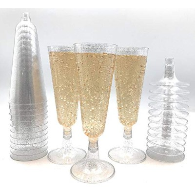 70pc Silver Glitter Plastic Classicware Glass Like Champagne Wedding Parties Toasting Flutes Party...