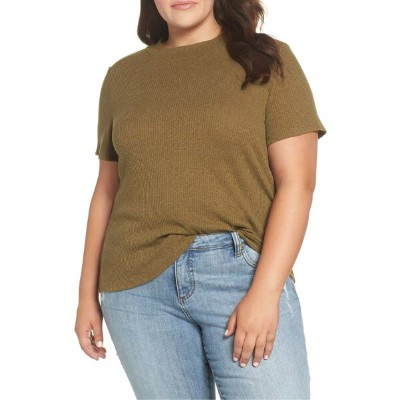 ビーピー レディース Tシャツ トップス BP. Mock Neck Rib Knit Tee (Plus Size) Olive Italy