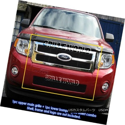 USグリル For 08-12 2011 2012 Ford Escape Black Billet Grille Grill Combo Insert 08-12 2011 2012フォードエスケー...