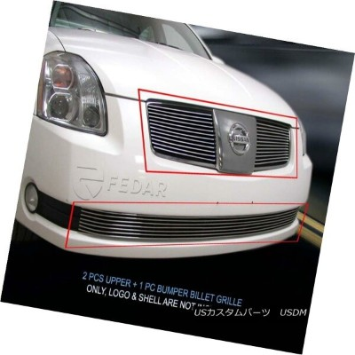 USグリル Fits 04-06 Nissan Maxima Billet Grille Grill Combo Insert Fedar フィット04-06日産マキシマビレットグリルグリルコンボイン...