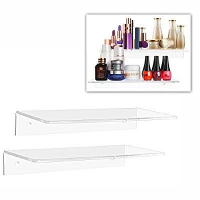 (30cm (2 piece set)) - 30cm Contemporary Clear Acrylic Floating Shelf / Wall Mounted Display...