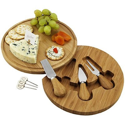 Round Bamboo Cheese Board Set with 3 Stainless Steel Tools and 4 Cheese Markers - 23cm diameter x 3...