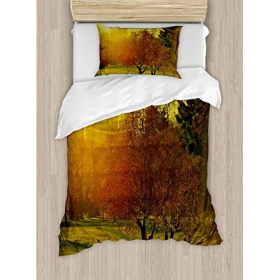 Nature布団カバーセットby Ambesonne、Sunset Over The City Park Colorado Skyline Autumnテーマ風景画像、装飾寝具セットwithピロー...