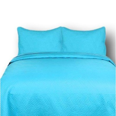 (Full) - DaDa Bedding Reversible 3 Piece Thin and Lightweight Modern Turqouise Lagoon Quilt Set,...