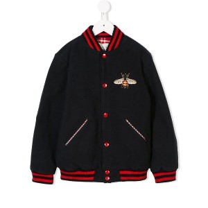 Gucci Kids bumble bee bomber jacket - ブルー