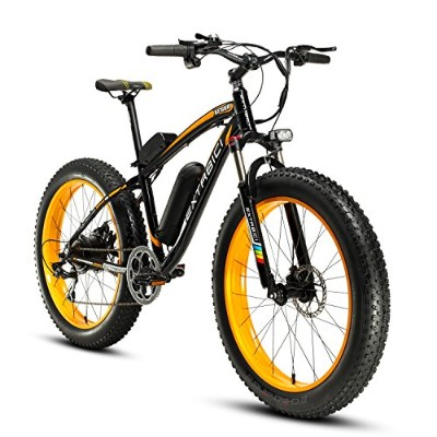Cyrusher XF660 500W FATBIKE 17×26インチ マウンテンバイク アルミフレーム電動自転車シマノ7段変速 (イエロー)