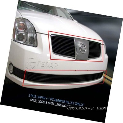 USグリル Fits 04-06 Nissan Maxima Black Billet Grille Grill Combo Insert Fedar フィット04-06日産マキシマブラックビレットグ...